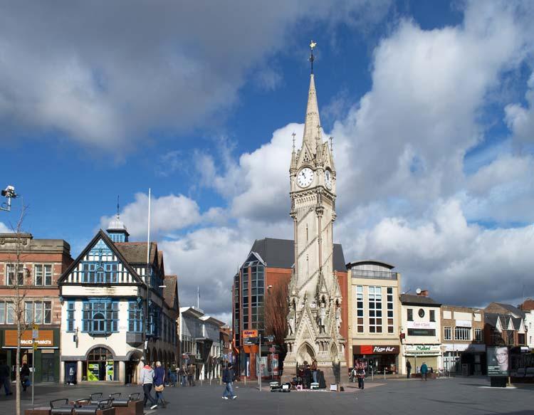 Haymarket Memorial Clock Tower in Leicester